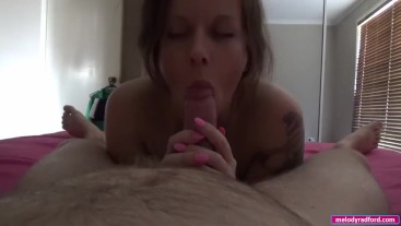 BIG TIT Teen Gives Her Step DADDY a Passionate Morning BLOWJOB Before Work POV - Melody Radford