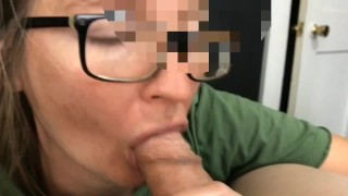 She pulls back the foreskin tightly to finish him, Cum in Mouth, Swallow Blowjob, mushroom tip head