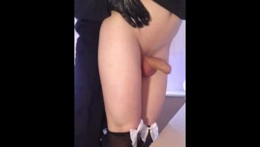 Sissy femboy neko maid fucked to orgasm
