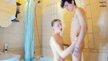 Hot teens Matty & Aiden suck each other's in the shower. Matty cums in the end.