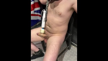 Fit cute lad in the cell, restrained and milked on lowest setting.