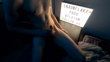 Hung uncut twink getting naked and jerking his huge cock while is boyfriend is watching