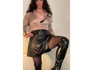 Sexy shemale stroking her satin shirt and pantyhose...