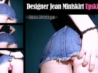 Designer jean miniskirt upskirt joi pov jeans denim...