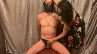 Mistress teases and edges sub to ruined orgasm