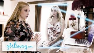 GIRLSWAY Hot MILF Sarah Vandella Reaches Her Stepmom Katie Morgan For Some Scissoring Nostalgia