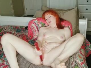 Horny redhead Milf  Dani-Rae Diamond masterbates in nipple clamps til she squirts