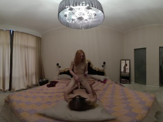 gorgeous spinner ginger LEA first time girl on girl strap-on experience VR180 private bedroom fun
