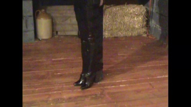ELISHA IN PVC CATSUIT & HIGH HEELED BOOTS POST TIED WITH BONDAGE TAPE & GAGGED 7