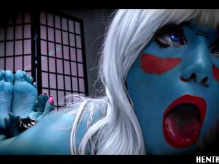 Real Life Hentai – JOI – Blue Alien – Red Pussy – Jerk off instruction – bondage – feet pose