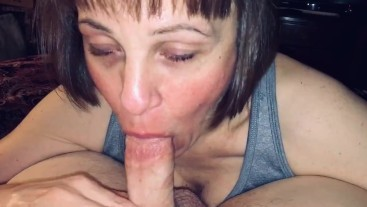 Mature Milf love's sucking on dick & swallowing cum
