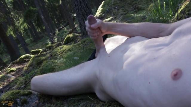 Massive cumshot all over me. Exhib outdoor nudity  Johann Wood
