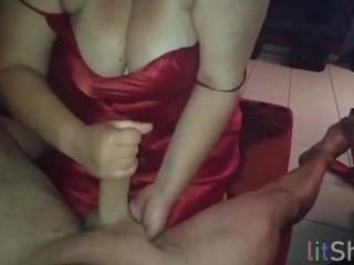 Fuck me pov handjob cum on tits...