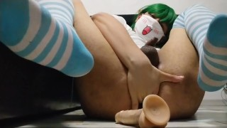 Cute local Trap fucks dildo and cums [Sissy femboy prostate orgasm]