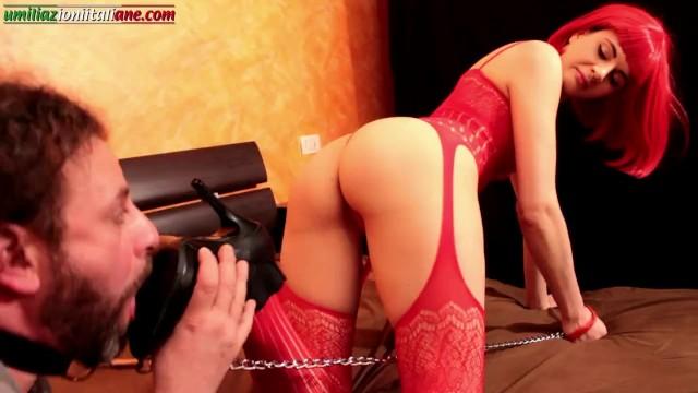 Lick my sweaty feet slave The slave licks the mistresss boots foot domination italian femdom foot worship