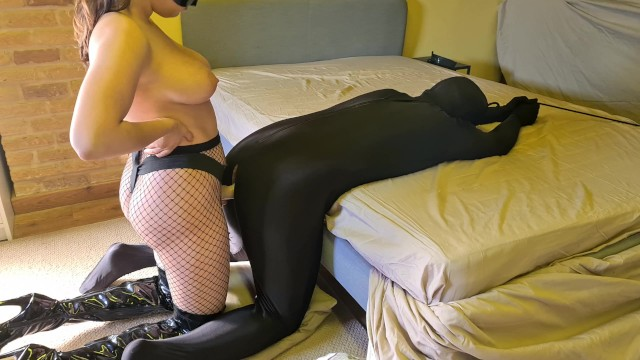 95.3 virgin Femdom mistress in thigh high boots takes his loser boyfriends anal virginity