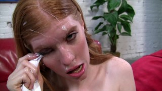 "Redhead AMATEUR ""model"" is really CHEATING SLUT WIFE who milks a HUGE FACIAL LOAD all over her FACE!"