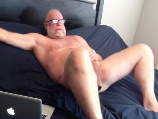 Hung Mature Bear Jacks His Big Cock Off Nice Cumshot Big Dick Solo Male Beard Silver Daddy