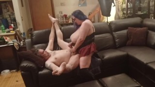 Pegging my fuck slut hubby on his knees and back nice and hard and deep