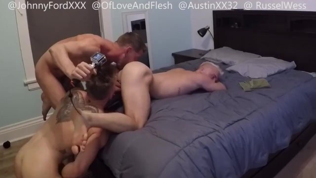 1 of 3 - Bareback breeding flip fucking threesome with Johnny Ford and bubble butt hung jocks