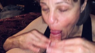 POV Mature wife sucking off a big cummer!