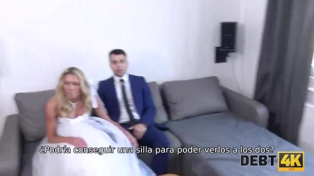 DEBT4k. Hottie en vestido de novia blanco satisface a un extraño por $ 5000 4