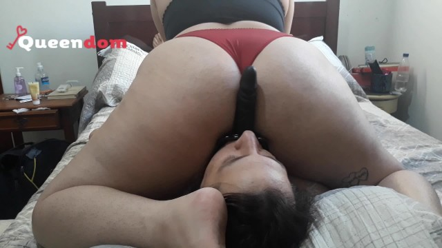 Womens orgasm faces Cuckold training 3 - riding a face dildo and smothering him