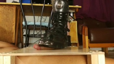 Erotic cock stomping with New Rock boots HD