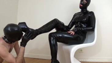 Boot Worship for Blind Hooded Slave: Lady Bellatrix in femdom sensory deprivation