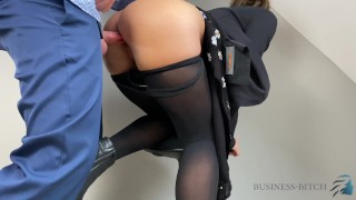 boss employee short briefing ends with cum into her pantyhose