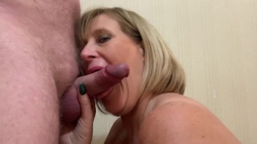 Mature Slut Sucks Cock like a pro and Gets a Mouth and Faceful of Hot Cum