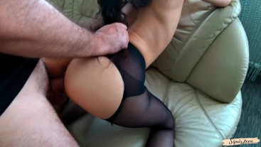 Young wife in pantyhose adores doggy style with hubby.Squirts,creampie,fuck after cum-Squir7een