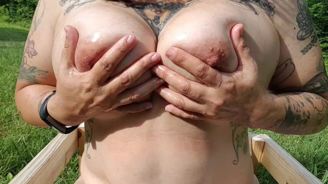 Extra large tits Thick 45yo curvy tattooed milf plays w big oiled wet natural tits large nipples