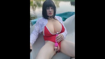 Red one piece on the pond