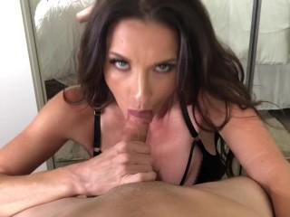 MILF Brunette SIlvia Sage sucks huge hard cock - POV