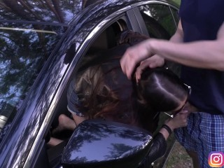 A quick blowjob for a passer-by through a car window & Cum in my mouth