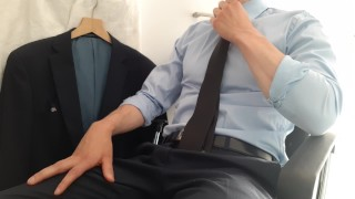 Solo Male Masturbation - Suited guy relaxes after a hard day