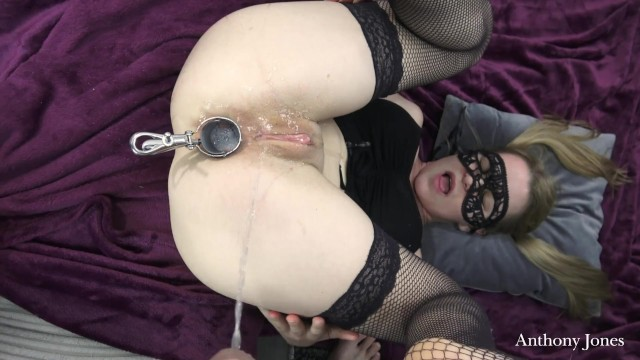Girl anal rimming Nasty blonde slut rimming a guy and let him pissing in her ass with speculum to drink it after