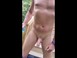 Outdoor skinny sexy tanned male wacking off under the sun