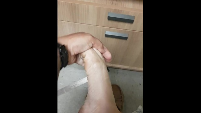 Playing With My Small Stinky Smelly Feet At Work - Sweaty No Socks 12