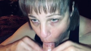 Mature cougar wife sucking off young man again. Cums hard in her mouth