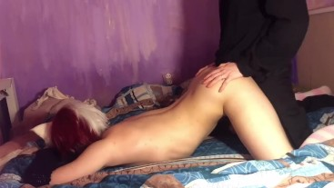 Femboy fucked in dog pose and he finished