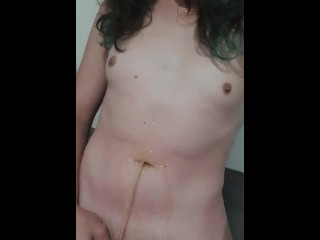 Little cock trans girl pissing on herself