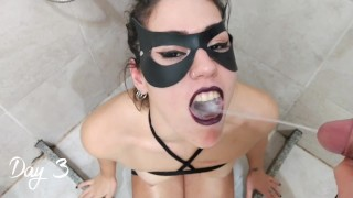 Drinking pee for 3 days in a row, human toilet, professional slave- short version-