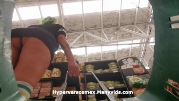 Use a hidden camera in the shopping cart to look under the skirt UPSKIRT