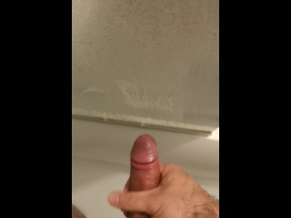 Quick cheeky wank in the shower...ends with me cummin over the shower door