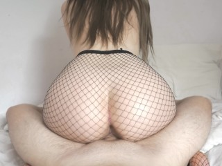 Bratty Stepsister in Fishnet makes me cum in 5 minutes – I was fucked instantly! Cute 4k cowgirl POV