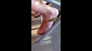Petite older hippie neighbor feet in her rubber sandals, I know her feet had to be sweaty!