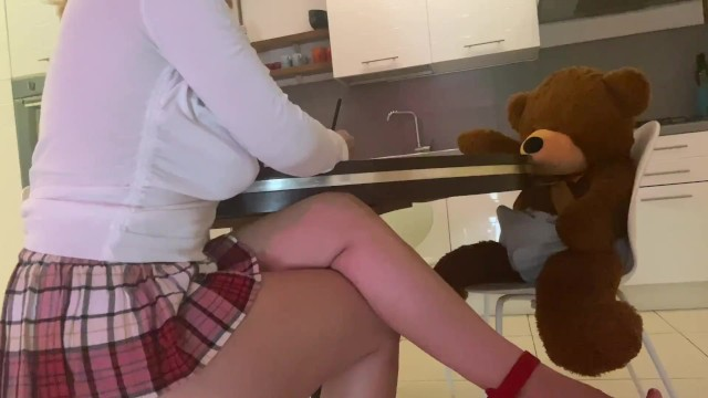 Copied porn dds I study with my friend, i fuck him to copy his homework teddy bear, cum fast inside my pussy