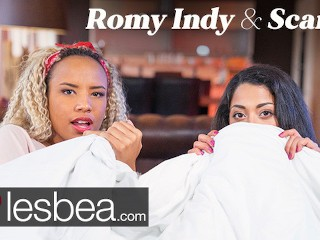 Lesbea Romy Indy and Scarlet Rebel in Movie Night Lesbian Love Making